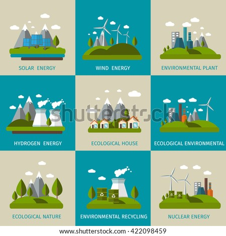 Ecology icon flat set with descriptions of solar wind hydrogen nuclear energy ecological house ecological nature vector illustration - stock vector