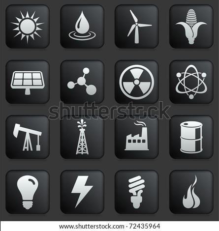 Ecology Icon on Square Black and White Button Collection Original Illustration - stock vector