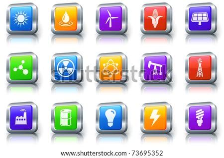 Ecology Icon on Square Button with Metallic Rim Original Illustration - stock vector
