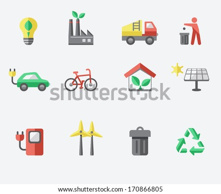 Ecology icon set - stock vector