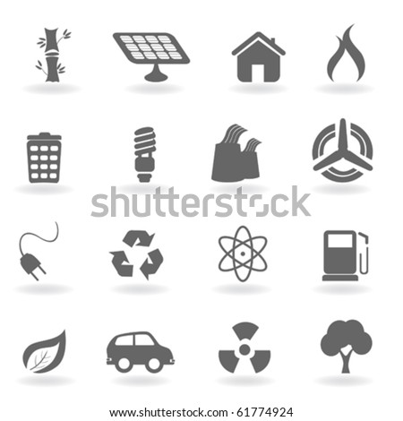 Ecology icon set in grayscale - stock vector