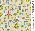 Ecology icon set seamless pattern. Vector file layered for easy manipulation and custom coloring. - stock