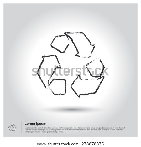 ecology icon, Sketch Doodle pictogram icon on gray background. Vector illustration - stock vector