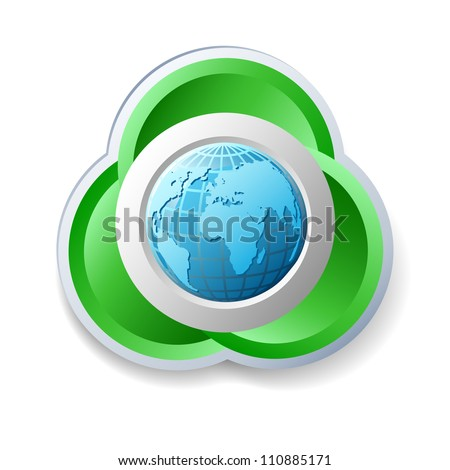 Ecology icon with earth on the white background