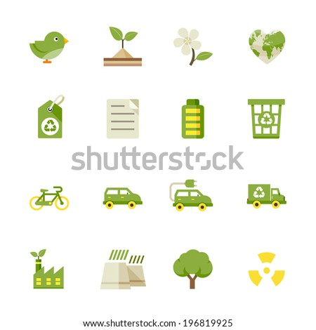 Ecology icons and Environment icons : Flat Icon Set for Web and Mobile Application - stock vector