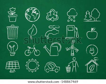 Ecology Icons drawn on a chalk board - stock vector