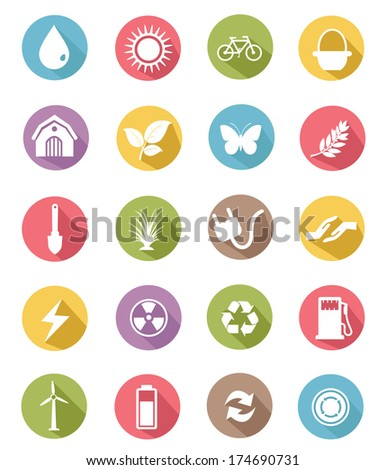 Ecology icons,Green version,vector - stock vector