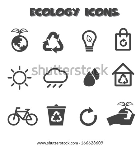 ecology icons, mono vector symbols - stock vector
