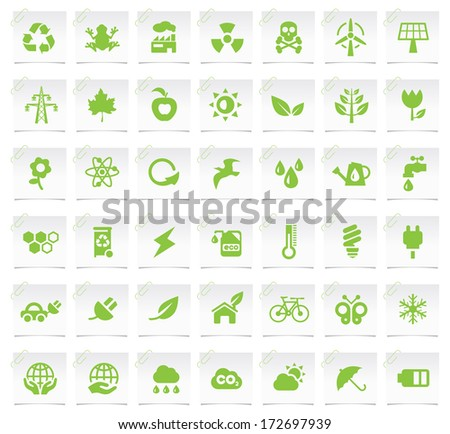 Ecology Icons on a Notepaper 2. - stock vector