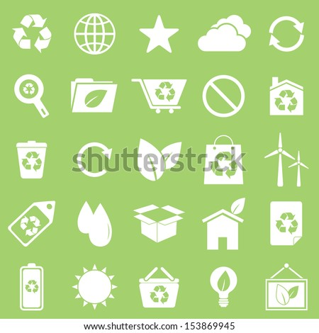 Ecology icons on green background, stock vector