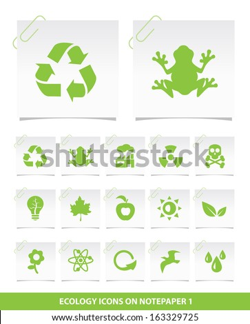 Ecology Icons on Notepaper 1. - stock vector