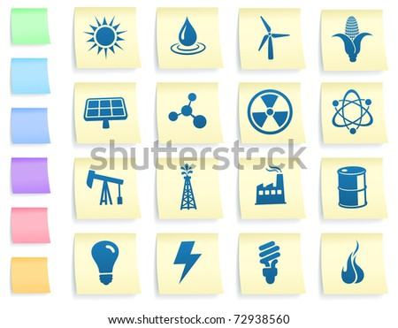 Ecology Icons on Post It Note Paper Collection Original Illustration - stock vector