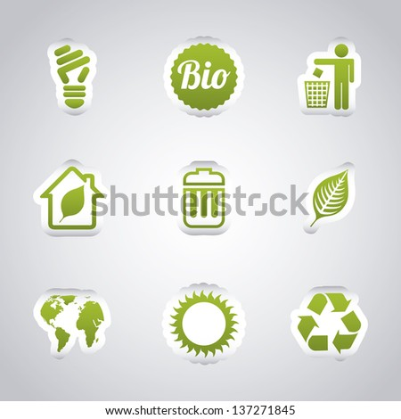 ecology icons over gray background. vector illustration - stock vector