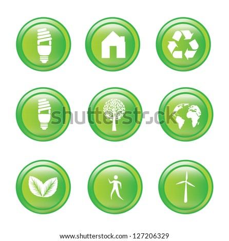 Ecology icons over white background vector illustration