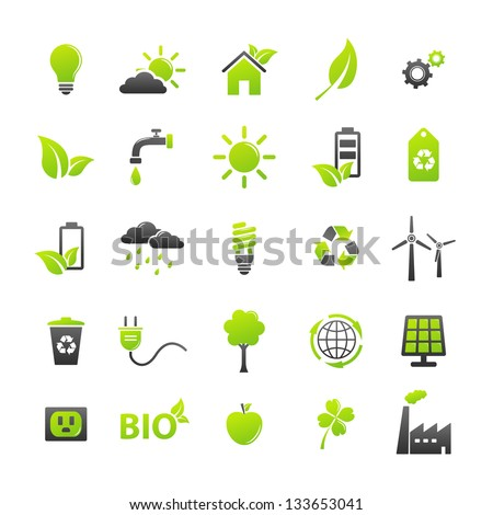 Ecology icons set - stock vector