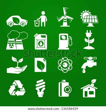 Ecology icons set 01. Deep Green series - stock vector