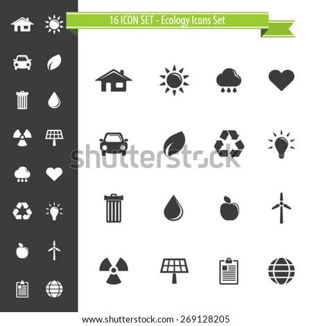 Ecology Icons Set - 16 ICON SET - stock vector