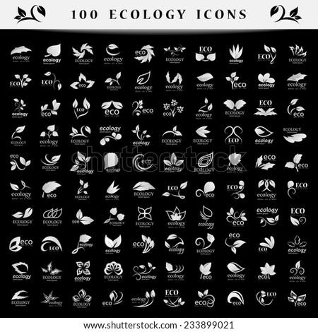 Ecology Icons Set - Isolated On Black Background - Vector Illustration, Graphic Design Editable For Your Design - stock vector