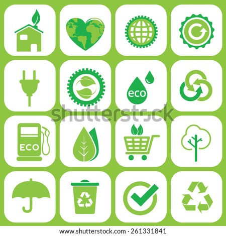 Ecology icons set on grey  - stock vector
