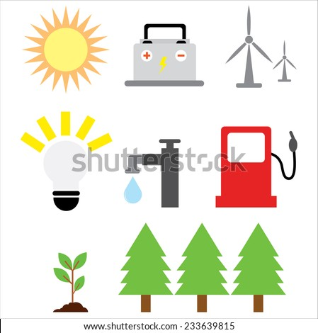 ecology icons set on white - stock vector