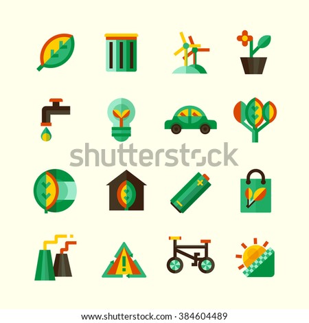 Ecology icons set with different ways of protection of environment isolated vector illustration