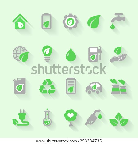 Ecology icons set with environment, green energy and pollution in flat for web and mobile app - stock vector