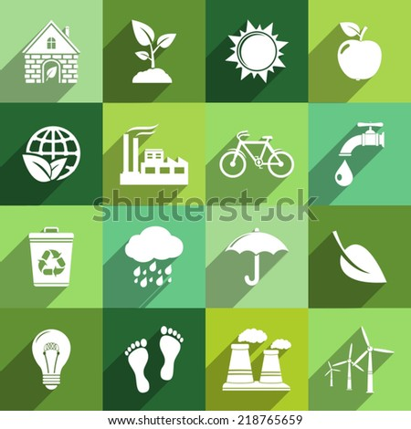 Ecology icons with long shadow  - stock vector