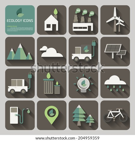 ecology icons with long shadow on flat design concept vector - stock vector