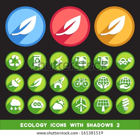 Ecology Icons with Shadows 2. - stock vector