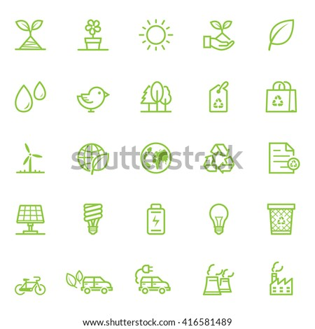 Ecology icons with White Background