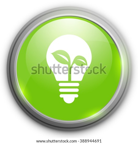 Ecology idea green bulb with plant vector illustration