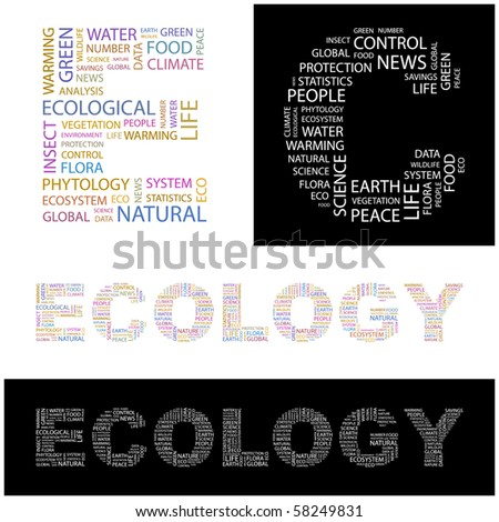 ECOLOGY. Illustration with different association terms. - stock vector