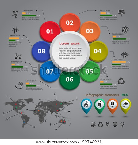 Ecology info graphic with map, web design, vector