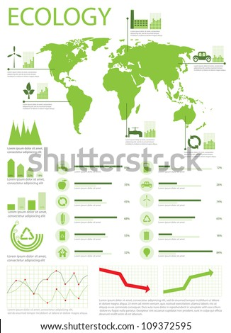 Ecology info graphics collection, charts, world map, graphic vector elements - stock vector