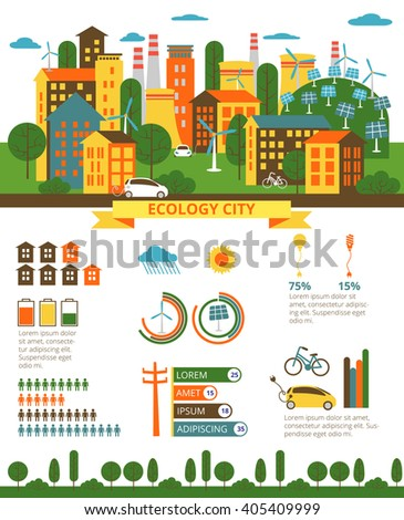 Ecology infographic elements. Green city. Can be used for workflow layout, banner, diagram, web design, timeline, info chart, statistic brochure template. vector illustration - stock vector