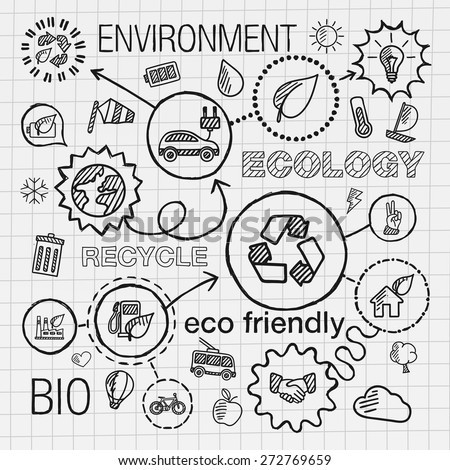 Ecology infographic hand draw icons. Vector sketch integrated doodle illustration for environmental, eco friendly, bio, energy, recycle, car,  planet, green concepts. Hatch connected pictograms set. - stock vector