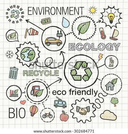 Ecology infographic hand draw icons. Vector sketch integrated doodle illustration for environmental, eco friendly, bio, energy, recycle, planet, green concepts. Color hatch connected pictograms set. - stock vector
