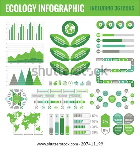 Ecology Infographic Set (including 36 icons) - Vector Concept Illustration for business presentation, booklet, web site etc.  - stock vector