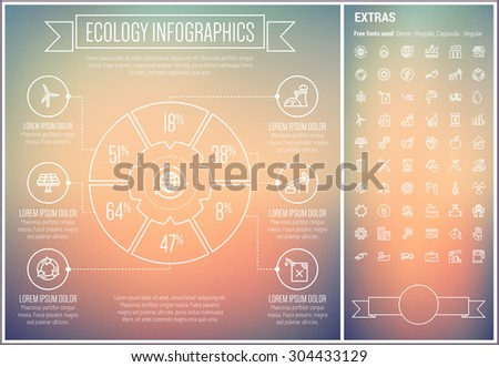 Ecology infographic template and elements. The template includes the following set of icons - screwdriver and wrench set, solar panel, turbine, car with charger, flower and more. Modern minimalistic - stock vector