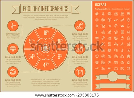 Ecology infographic template and elements. The template includes the following set of icons - oil pipe, E-station, electrical plug, lamp, solar panel, growing graph, gas pump and more. Modern - stock vector