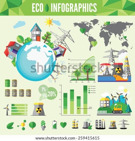 Ecology Infographic, vector illustration. - stock vector