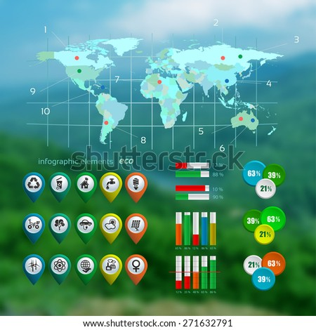 Ecology infographic with map on the blurred photo background , web design, vector illustration - stock vector