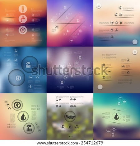 ecology infographic with unfocused background - stock vector