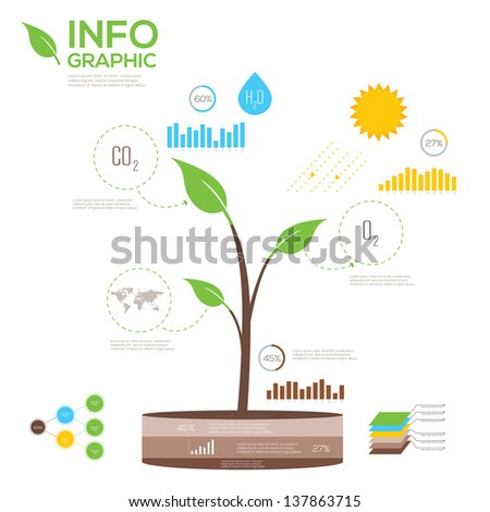 Ecology infographics collection, charts, symbols, graphic vector elements. - stock vector