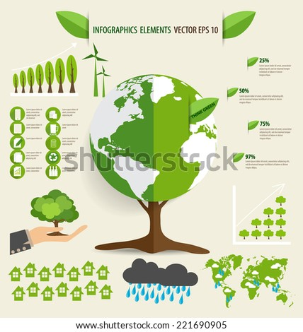 Ecology Infographics design elements. Vector illustration. - stock vector