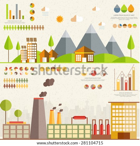 Ecology infographics elements with various statistical graphs and charts. - stock vector