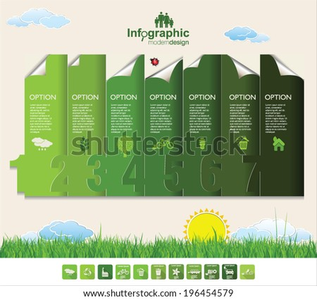 Ecology Infographics number options modern design - stock vector