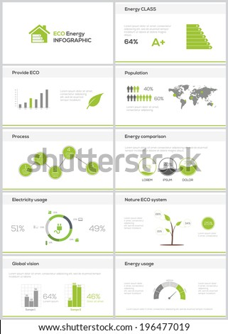 Ecology infographics slides collection. Vector illustration - stock vector