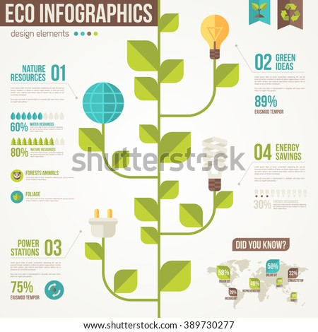 Ecology infographics vector illustration environmental template stock vector 389730277 for Environmental protection plan template