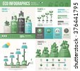 Ecology Infographics. Vector illustration. Environmental template with flat icons. Environmental protection and Pollution. Go green. Save the planet. Earth Day. Creative concept of Eco Technology. - stock photo